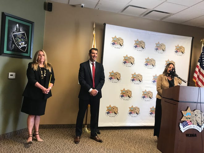 The Ventura County Deputy Sheriffs' Association endorsed Cmdr. James Fryhoff, center, for sheriff at a news conference Monday, Aug. 2, 2021. Appearing from left to right are association Executive Director Kasey Sirody, Fryhoff and Tamrin Olden, a public relations adviser for the association.