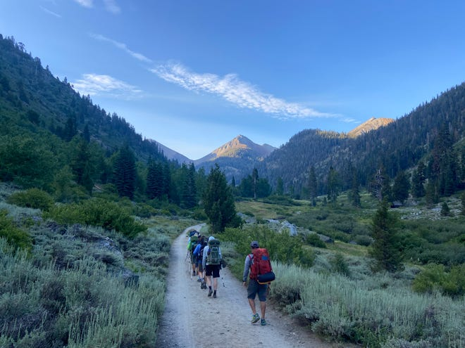 Members of Boy Scout Troop 309 of Exeter depart from Mineral King Valley, looking toward Farewell Gap, on Wednesday, July 21. Their final destination is 60 miles and five days away at Mt. Whitney.