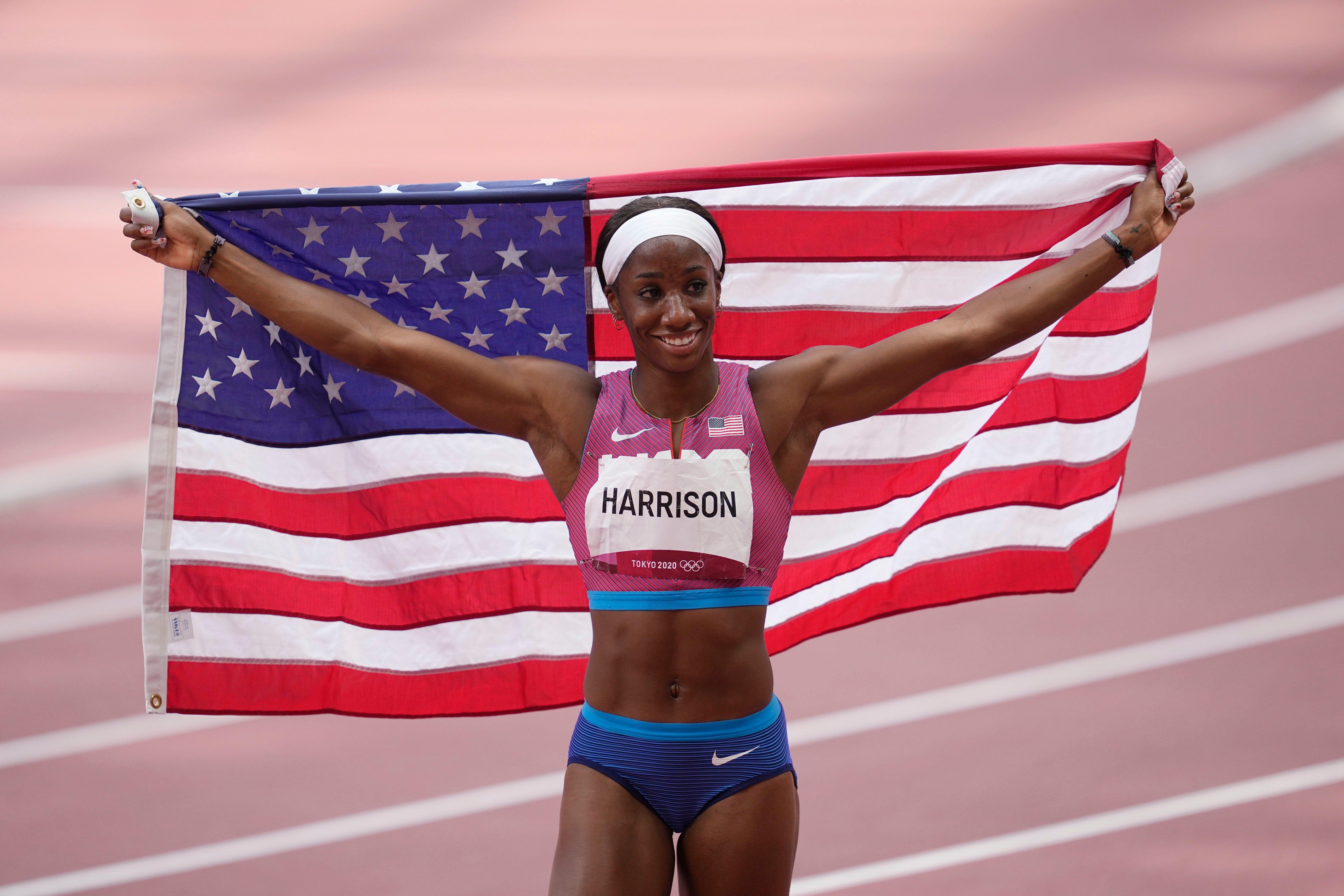 American Keni Harrison wins silver medal in 100-meter hurdles at Tokyo Games