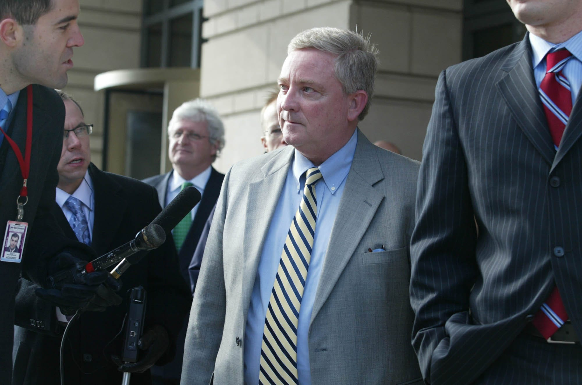 Former Rep. Bob Ney, R-Ohio, enters U.S. District Court  in Washington on Wednesday, Jan. 18, 2007, to be sentenced after being convicted of accepting free trips, meals, sporting event tickets and other gifts in the Jack Abramoff congressional lobbyist scandal.