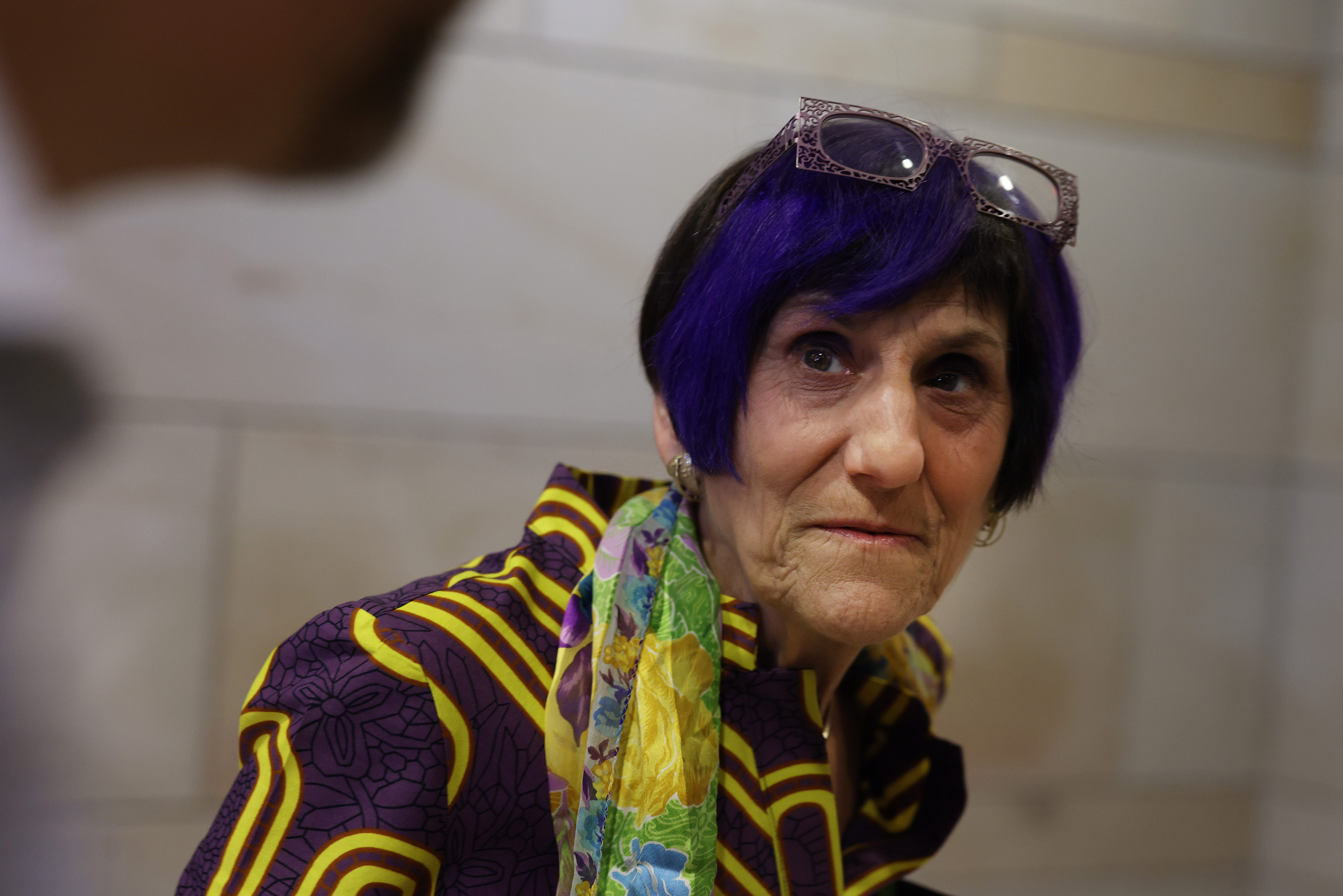 Rep. Rosa DeLauro, D-Conn., chairman of the House Appropriations Committee, speaks June 15, 2021, to reporters as she leaves House Democratic Caucus meeting in the Capitol Visitor Center in Washington, D.C.