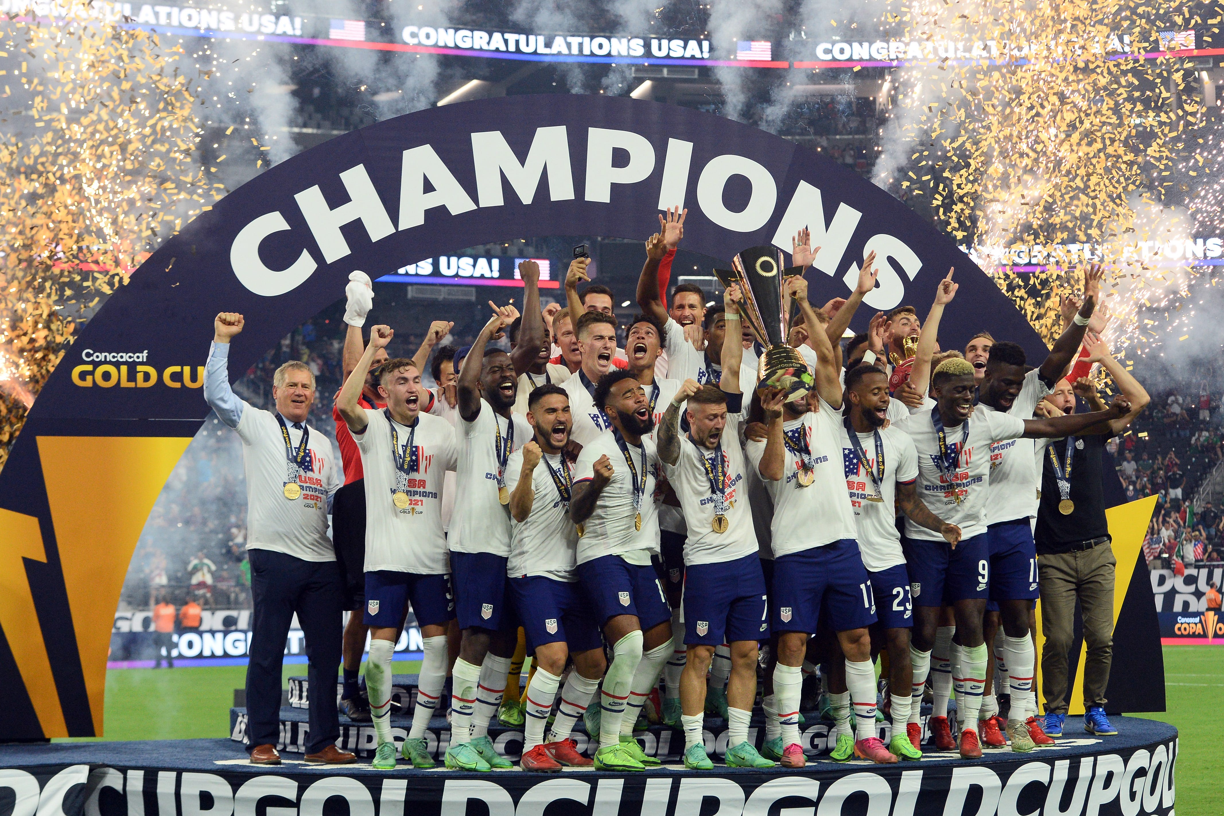 U.S. men s national soccer team defeats Mexico in Concacaf Gold Cup final, collects second trophy in two months
