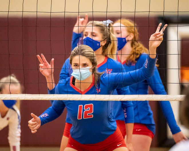 Cate Boldrick and Westlake teammates wait for a serve against Round Rock last season. Boldrick, who has committed to play at NCAA Division II champion Angelo State University, will anchor both the offense and defense for the Chaps.