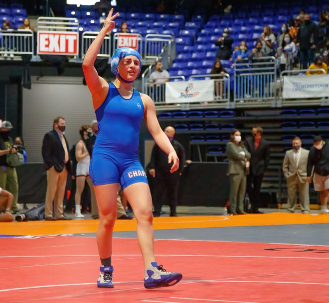 Westlake's Jocelyn Lass celebrates her win against Allen's Tobiah Walwyn-Ton at the state meet in April. Lass, the most decorated female wrestler in school history, capped her third appearance at the Class 6A state meet with a third-place showing at 110 pounds.