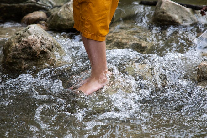 Jackson Holbert, 4, stands in the flowing water at Bull Creek District Park on Aug. 3.