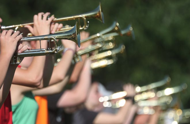 Cuyahoga Falls High School Marching Band practice on Tuesday Aug. 3, 2021 in Cuyahoga Falls.