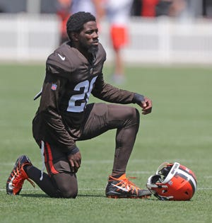 Browns rookie Jeremiah Owusu-Koromoah was on the field for the first time in training camp Tuesday at CrossCountry Mortgage Campus. [Phil Masturzo/Beacon Journal]