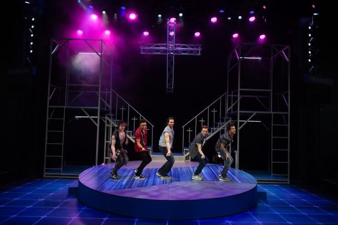 "Evan Waggoner, Antonio Emerson Brown, Elijah Lee King, Brandon Schumacker and Devin Pfeiffer star in the musical ""Altar Boyz"" at Porthouse Theatre."