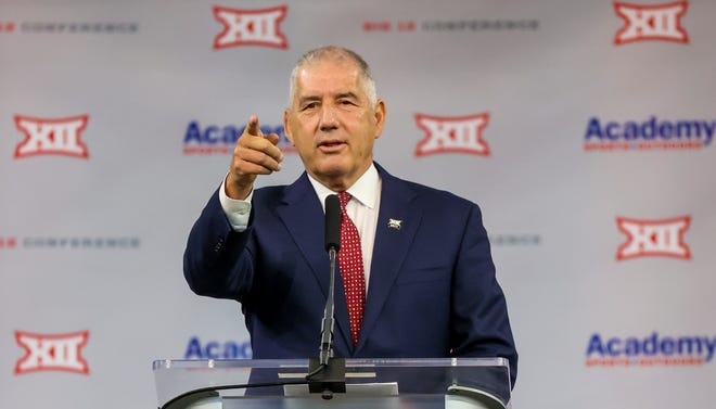 Big 12 Commissioner Bob Bowlsby, speaking at Big 12 media days in July, was one of many speakers discussing the future of the conference at a special-called hearing by the Texas Senate's Future of College Sports committee.
