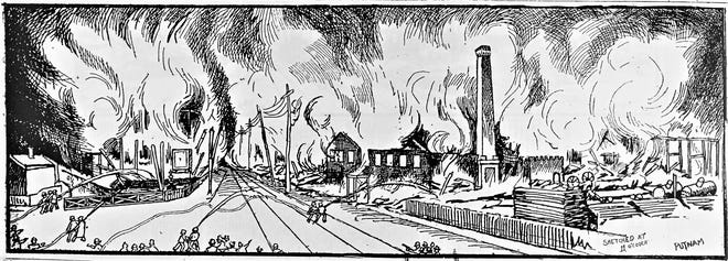 """Newspaper illustration """"sketched at 11 o'clock"""" shows the 1899 fire."""