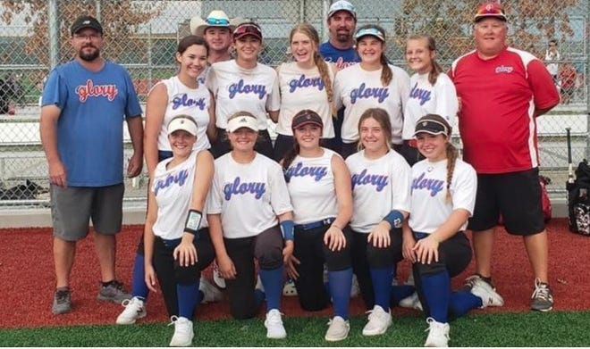 14U Glory-Crelia competed in the One Champion USA/USSSA Tournament in Celina, Texas this past weekend.  They beat the heat and took home first place to end their 14U season. Coaches and players names listed below. Front row, from left: Lacey Isenhower, Aubrey Greaves, Peyton Pena, Dayla Ray and Marissa Reedy. Back row: Jordyn Mcintire, Abby Wolf, Stoney Laughlin, River Jones and Sydney Greaves. Coaches are Bobby Crelia, Chris Wolf, Michael Vita and Ryan Greaves.