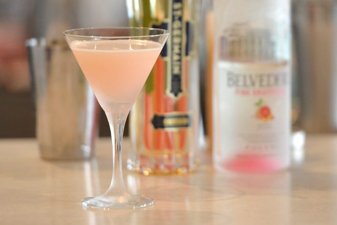 The Frozen Sound martini is one of the several cocktails available at the Pelham House Resort. Pelham House Resort offers rooftop dining with a view of Nantucket Sound.