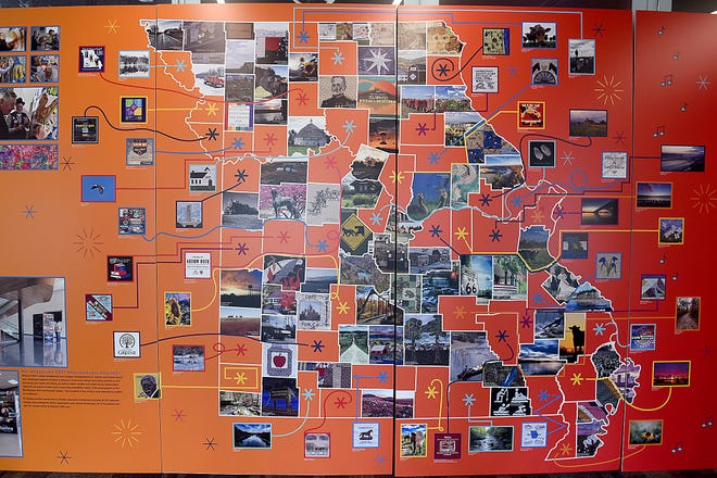 One of the Missouri bicentennial panels at the Center for Missouri Studies displays photos from each of the 114 counties in the state. The State Historical Society of Missouri's celebration commemorating 200 years of Show-Me State history is open to the public at 8 a.m. Friday.