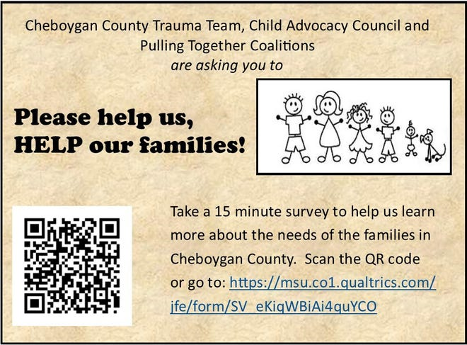 Three local entities are working together to determine the needs of the community in terms of resources for parents, families and the youth in the area. The community is being asked to fill out a survey that will help gather the information needed to help improve these areas in Cheboygan County.