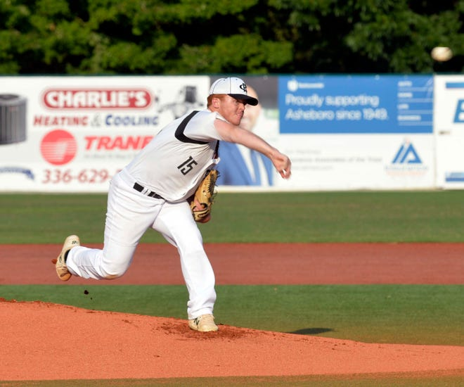 Hunter Hill has been one of Post 45's top pitchers in the 2021 American Legion baseball season. [Mike Duprez/Courier-Tribune]