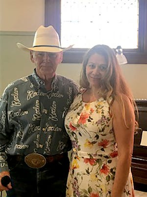 Mayra Ascencio took first place in the 2021 Western Heritage Art Contest held at Carnegie Center for the Arts on July 26. Ascencio received cash prizes from Dr. R.C. (seen here) and Mary Trotter who also emceed the event.
