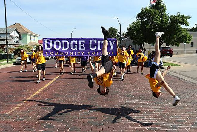 Approximately 140 Dodge City Community College students, faculty and staff participated in the 2021 Dodge City Days Western Parade on Saturday, July 31. In addition to several college vehicles and a nursing department float, student-athletes representing the football, volleyball, men's basketball and cheer teams also took part in the festivities.