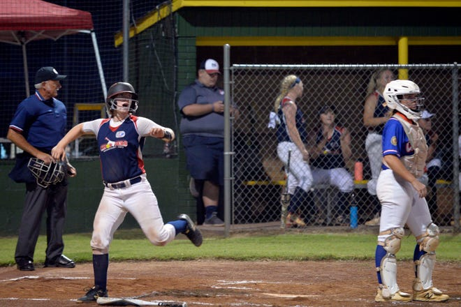 Davidson County's Emma Jackson scores a run in the Choppers' 5-4 win over Cleveland County. [Mike Duprez/The Dispatch]