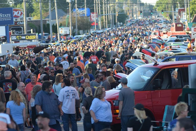 The streets were packed to see over 1,500 cars that lined the streets of Monmouth during the 2017 Maple City  Cruise Night.