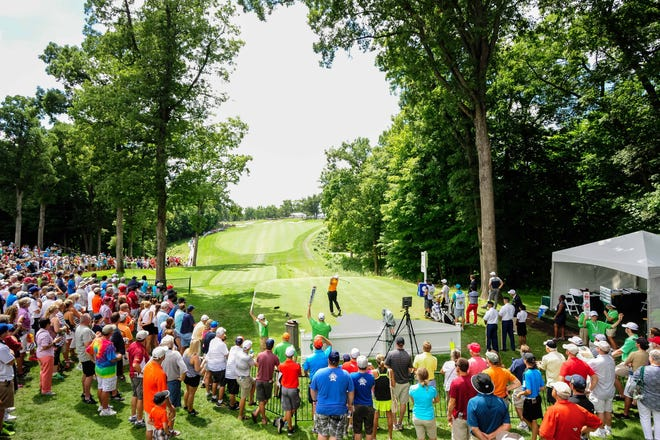 A general view of TPC Deere Run as a golfer tees off in the opening group at the first hole at the 2016 John Deere Classic.