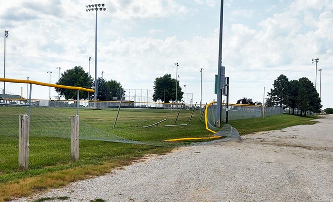 The city of Basehor released this photograph of a damaged fence at the Field of Dreams Athletic Complex.