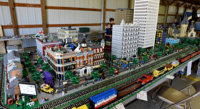 Michigan Lego User Group (MichLUG) members created the sprawling Lego model that was on display last week at the Monroe County Fair.