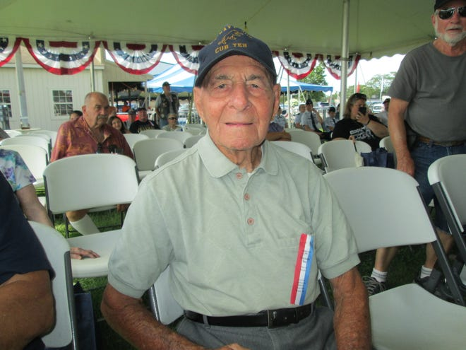 Joe Demarco, 96, a Navy veteran in World War II, was honored for being the oldest veteran present at the annual Veterans Day program at the Monroe County Fair Monday.