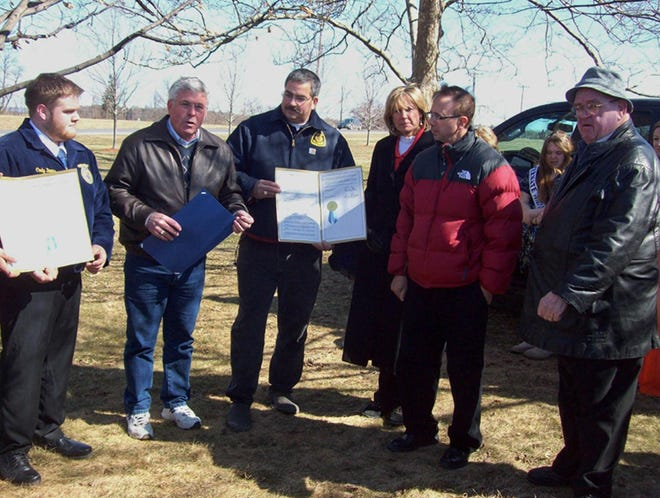 The late Bill Magee, far right, was well-known for supporting agriculture in his New York State Assembly district. Here he visits with, from left, Cody Doane, Darrel Aubertine, Keith Schiebel, Claudia Tenney and Joe Griffo in March 2011 at an ag celebration at Vernon-Verona-Sherrill Central School in Verona.