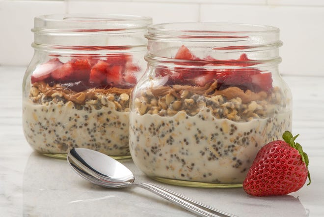 Peanut Butter and Jelly Overnight Oats from the Made in Oklahoma Coalition recipe collection.