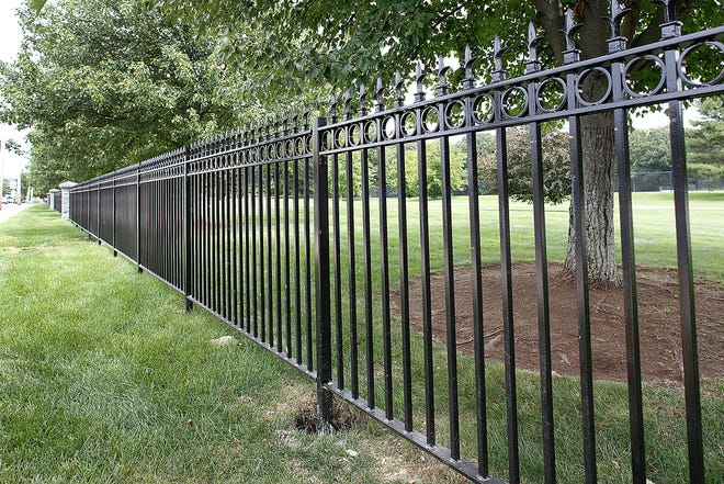 Merrymount Park in Quincy with a new wrought-iron fence.