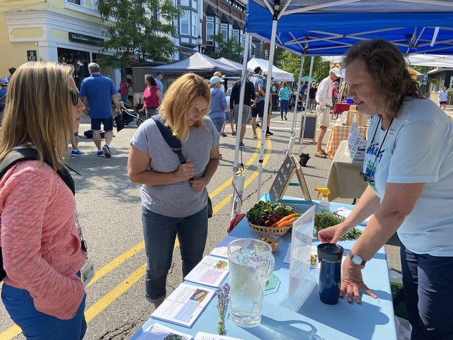 Lynne DeMoor (right), community health coordinator/nutritionist and market champion, speaks to Wendy Viles of Petoskey (left) and Michelle Ford of Central Lake about tips and recipes to promote the purchase of produce at the Downtown Petoskey Farmers Market.