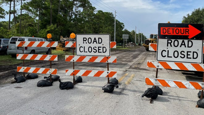 Work continued on Tuesday, Aug. 3, 2021, on the construction of a traffic roundabout on Campus Drive in Palm Beach Gardens, near the Palm Beach State College campus.