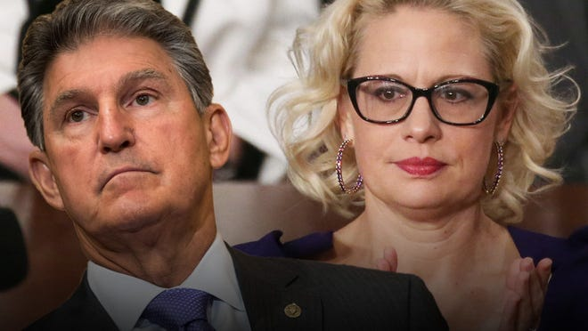 Democratic Sens. Joe Manchin (left), West Virginia, and Kyrsten Sinema (right), Arizona, are seen by party progressives as  obstacles to protecting American voting and civil rights.