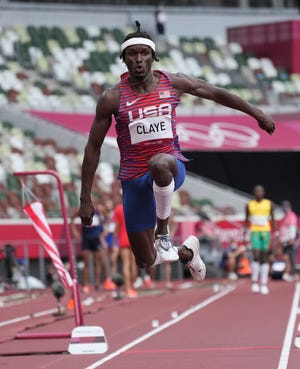 Aug 3, 2021; Tokyo, Japan; Will Claye (USA) in the men's triple jump qualification during the Tokyo 2020 Summer Olympic Games at Olympic Stadium. Mandatory Credit: Kirby Lee-USA TODAY Sports