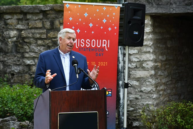 Gov. Mike Parson speaks at the Daniel Boone Home in St. Charles on July 28, 2021. Photo courtesy of Missouri Governor's Office
