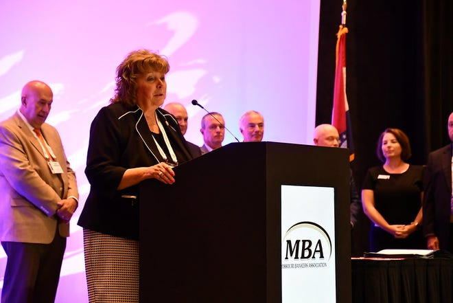 State Sen. Sandy Crawford speaks at the Missouri Bankers Association Convention on July 15, 2021. Photo courtesy of the Missouri Governor's Office