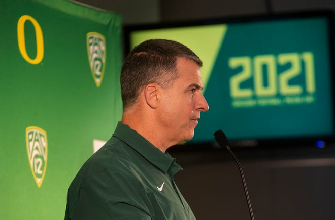 Mario Cristobal takes questions from media during Oregon Media Day as the 2021 season begins.