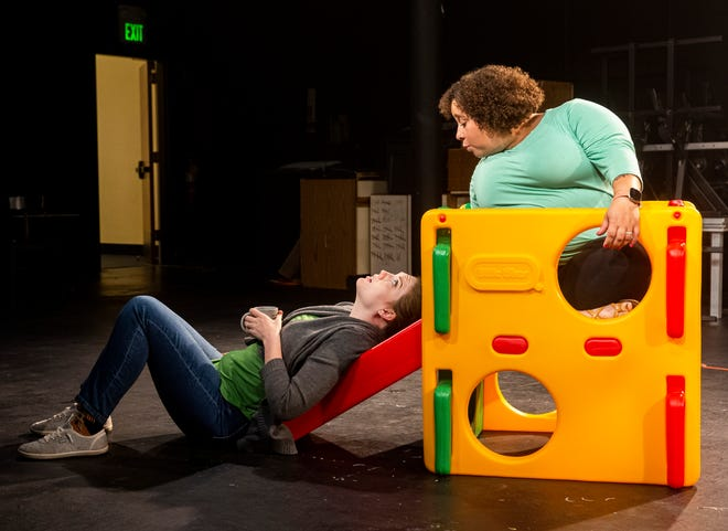 """Allison Jones, left, and Andrea Delon rehearse a scene for South Bend Civic Theatre's production of """"Cry It Out"""" that opens Friday at Leeper Park in South Bend."""