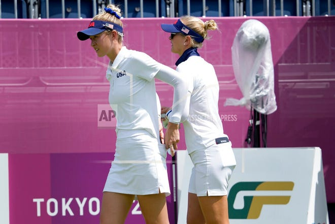 Bradenton's Nelly Korda, right, and her sister, Jessica, prepare to play a practice round prior to the women's golf event at the 2020 Summer Olympics at the Kasumigaseki Country Club in Kawagoe, Japan.