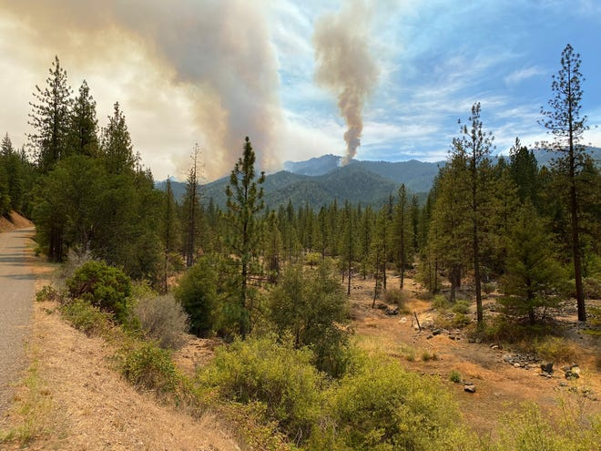 The Summer Fire, burning near the east of China Gulch trailhead near the Trinity Alps Wilderness, photographed on Monday, Aug. 2, 2021.