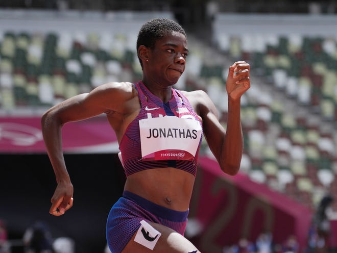 Worcester's Wadeline Jonathas stays in stride during her preliminary heat Tuesday in the women's 400 meters.