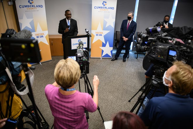 Cumberland County Commissioner Charles Evans speaks during a press conference during Gov. Roy Cooper visit to the Cumberland County Department of Public Health on Aug. 3.