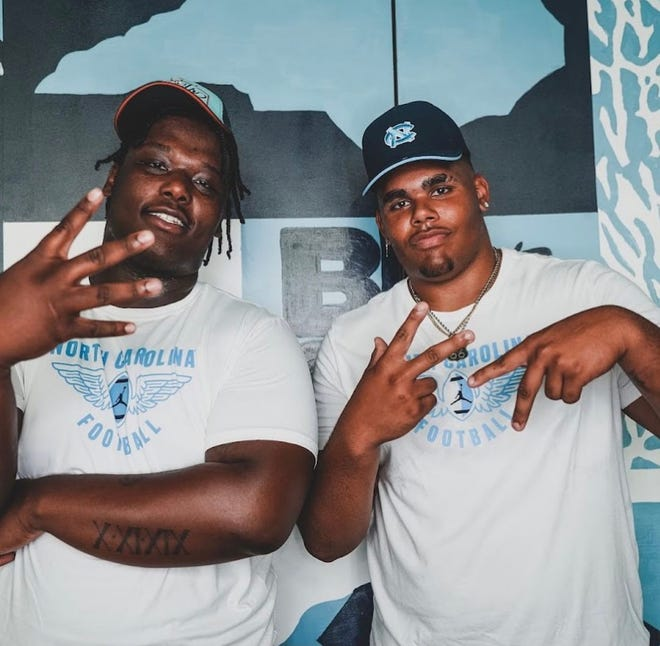 Five-star 2022 recruits Travis Shaw (left) and Zach Rice (right) visited Chapel Hill last Saturday for UNC football's Carolina Cookout event. Neither Shaw, a defensive tackle from Grimsley High School in Greensboro, nor Rice, an offensive tackle from Virginia, has set a commitment date as they enter their senior seasons.