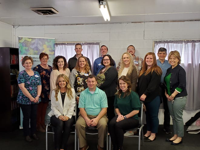 Participating in the Community Leadership Program are: first row, left to right, Chelsey Lankford, Jeremy Payton and Ashley Knight; second row: Leah Bledsoe, Lynne Miller, Jasmine Hilderbrand, Elizabeth Lowe, Eden Stafford, Stevie Thomas, Codi Metz and Amy Orr; and third row: Devin Baker, Jaron Alexander, Clint Deck and Paul Brubaker.