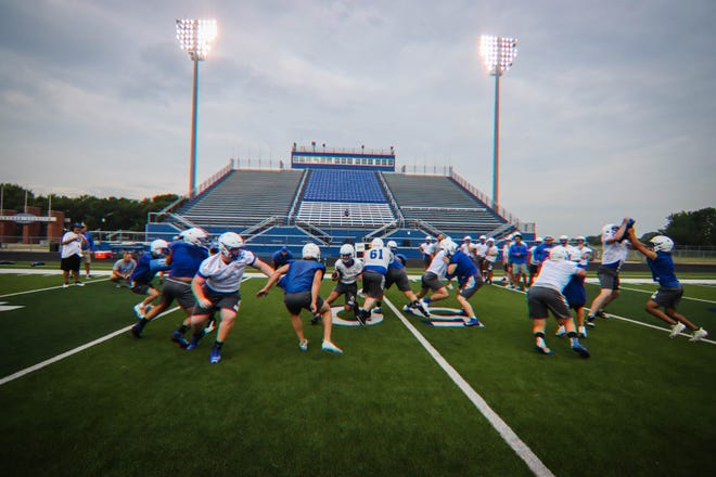 The Panthers worked on some team aspects under the lights on the first day of practice.