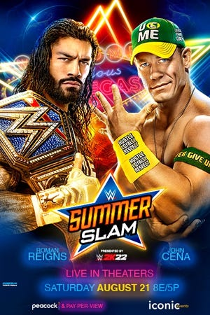 A promotional flyer for the WWE SummerSlam to be held Saturday, Aug. 21. ShowBiz Cinemas in Waxahachie will air the pay-per-view event.