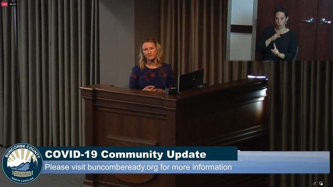 Buncombe County Public Health Director Stacie Saunders updates the Buncombe County Board of Commissioners Aug. 3 on rising COVID-19 cases in the county, which have doubled in two weeks.