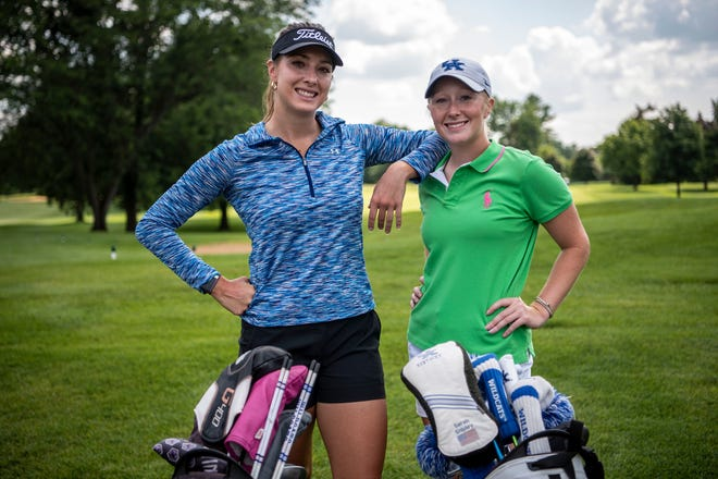 """Sisters Gabrielle and Sarah Shipley pose for a photograph during the Symetra Tour on Tuesday, Aug. 3, 2021 at Battle Creek Country Club. The 14th stop on the 2021 """"Road to the LPGA"""" takes the Symetra Tour to Battle Creek Country Club Friday-Sunday."""
