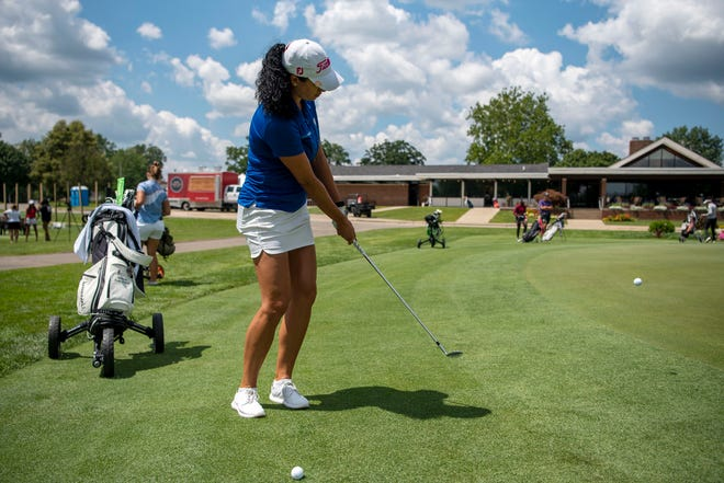 """Shasta Averyhardt from Flint. Michigan practices for the Symetra Tour on Tuesday, Aug. 3, 2021 at Battle Creek Country Club. The 14th stop on the 2021 """"Road to the LPGA"""" takes the Symetra Tour to Battle Creek Country Club Friday-Sunday."""