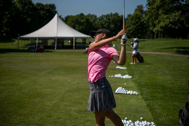 """Olivia Benzin from Tacoma, Washington practices for the Symetra Tour on Tuesday, Aug. 3, 2021 at Battle Creek Country Club. The 14th stop on the 2021 """"Road to the LPGA"""" takes the Symetra Tour to Battle Creek Country Club Friday-Sunday."""